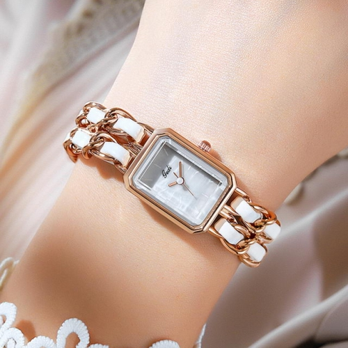 GEDI Personality Chain Belt Retro Square Dial Hot Sale Waterproof Quartz Ladies Watch