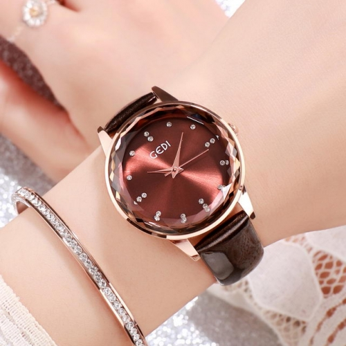 GEDI High-grade Diamond Scale Fashion Dial Exquisite Leather Strap Waterproof Quartz Ladies Watch
