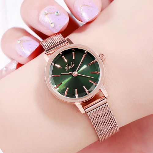 GEDI Simplicity Mesh Band Waterproof Diamond Cutting Mirror Exquisite Dial Quartz Ladies Watch