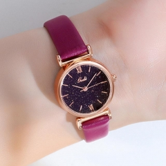 GEDI Leisure Versatile Textured Dial Exquisite Leather Strap Waterproof Quartz Ladies Watch