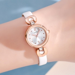 GEDI Elegant Leisure Diamond Inlaid Small Dial Exquisite Leather Strap Waterproof Quartz Ladies Watch