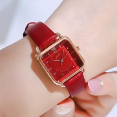 GEDI Retro Diamond Inlaid Square Dial Elegant Leather Strap Waterproof Quartz Ladies Watch