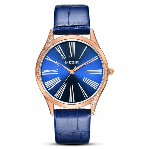 MEGIR Roman Scale Diamond Inlaid Dial Simplicity Fashion Leather Strap Waterproof Ladies Quartz Watch