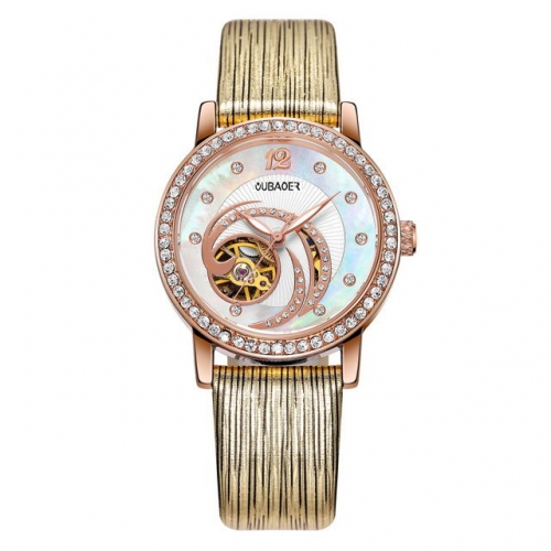 OUBAOER Exquisite Diamond Inlaid Hollow Shell Dial Textured Leather Strap Luminous Automatic Ladies Watch