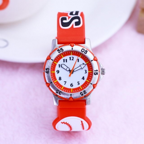 WL Hot Sale Cartoon Stereo Baseball Pattern Available In Two Colors Luminous Waterproof Quartz Kids Watch