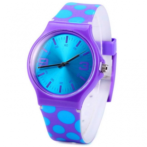 WL Simplicity Colorful Point Pattern Band Fashion Candy Color Matching Waterproof Quartz Kids Watch