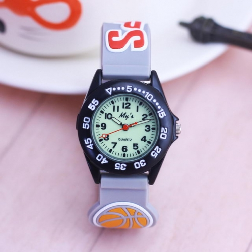 WL Cartoon Football Basketball Stereo Pattern Silica Gel Band Alloy Dial Personality Luminous Waterproof Quartz Kids Watch