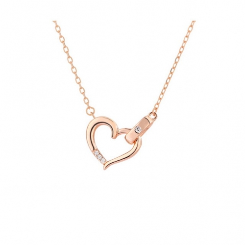 925 Sterling Silver Necklace Love Heart Necklace Heart-Shaped Clavicle Chain Simple Ladies Necklace Jewelry Wholesale