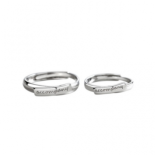 New Companion Couple Ring 925 Sterling Silver Letter Pair Ring Opening Gram Adjustment Ring 925 Jewelry Sets Wholesale