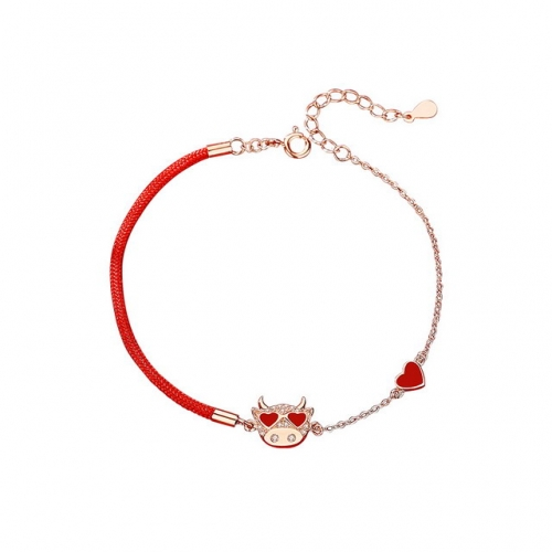 925 Sterling Silver Cow Bracelet Braided Bracelet Rose Gold Red String Jewelry Cheap Quality Wholesale Jewelry Suppliers