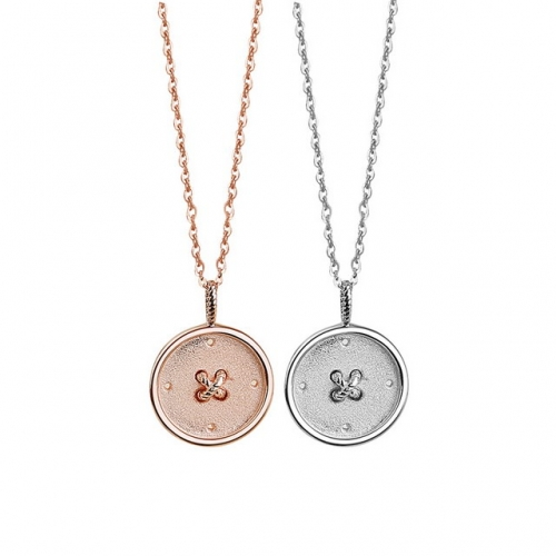 925 Sterling Silver Necklace Button Couple Necklace Simple Coin Pendant Valentine'S Day Gift Necklace Jewelry