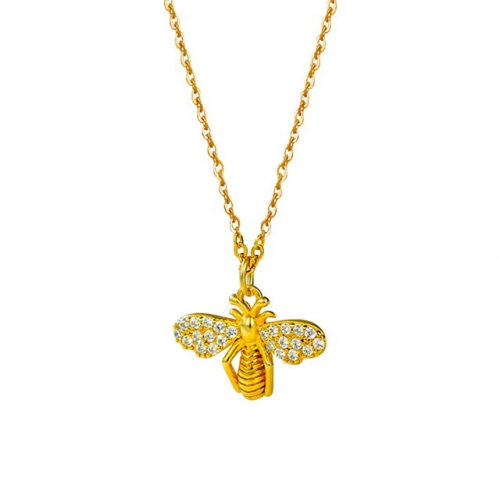 925 Sterling Silver Necklace 14K Golden Bee Necklace Simple Zircon Pendant Creative Clavicle Chain Buy Jewelry Online
